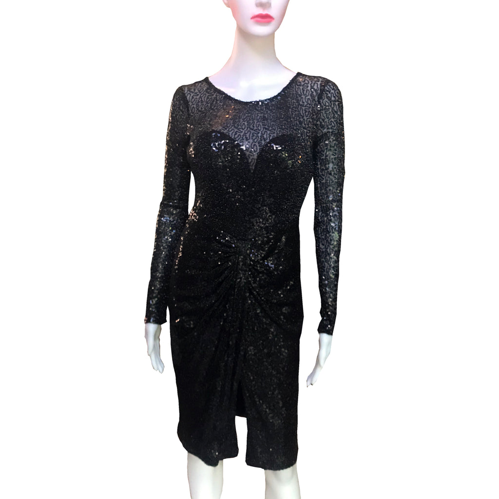 Vicky Tiel Long-Sleeved Sequined Black Dress