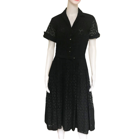 Vintage 1950s Aywon Originals Lace Eyelet Belted Dress