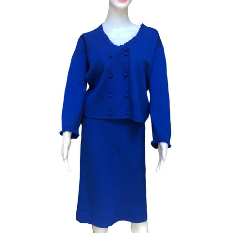 Vintage 1960s Pogue's Cincinnati Blue Knit Suit
