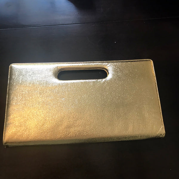 Vintage 1950s Gold Leather Clutch Bag