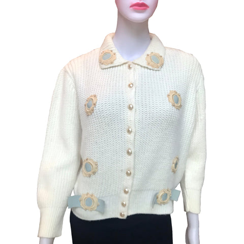 Vintage 1950s One-Of-A-Kind Embellished Cardigan