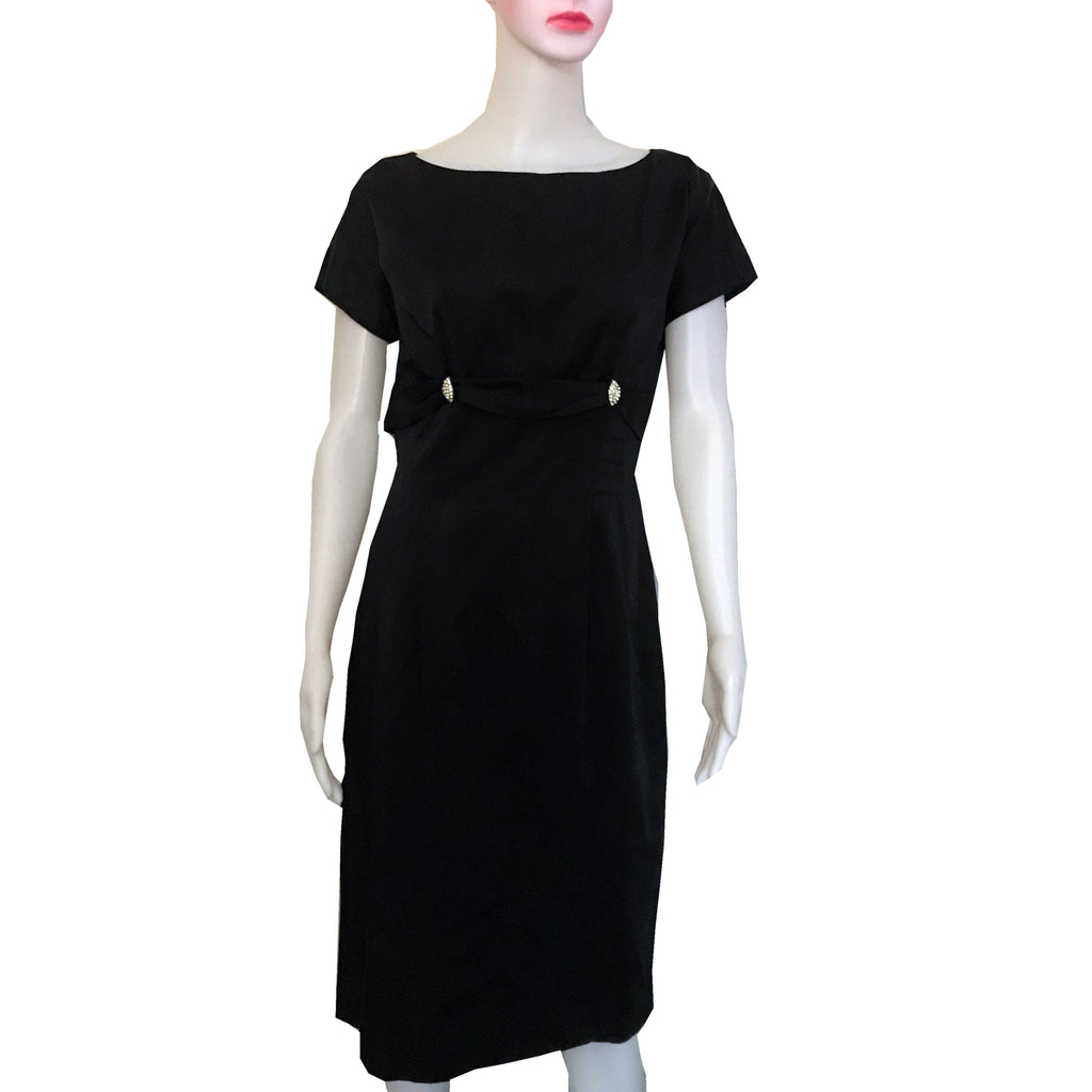 Vintage 1950s Black Satin Wiggle Cocktail Dress