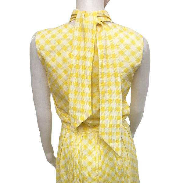 Vintage 1950s Yellow Gingham Tie-Neck Dress