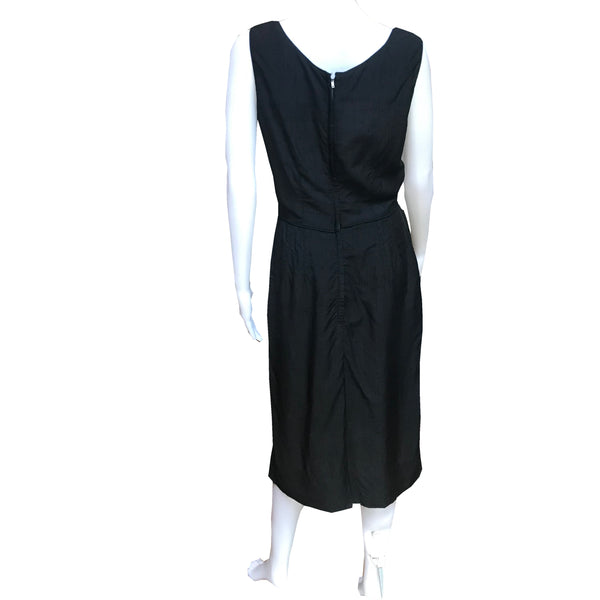 Vintage 1960s Abe Schrader Black Wiggle Dress