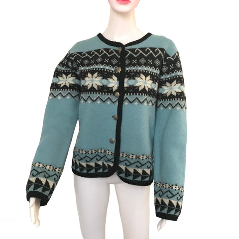 Vintage 1960s Fair Isle Wool Cardigan Sweater