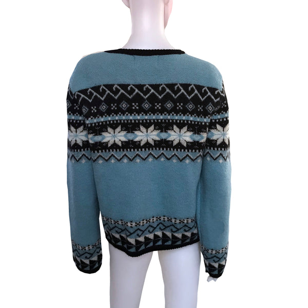 Vintage 1980s Fair Isle Wool Cardigan Sweater