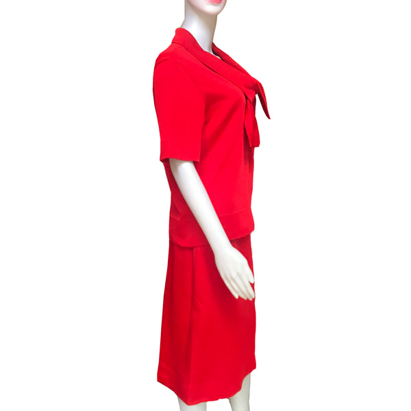 Vintage 1960s Kimberly Bright Orange Knit Suit