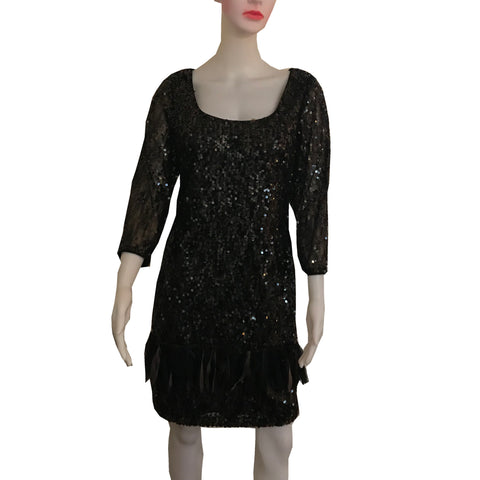 Vintage 1990s Sequined Cocktail Dress With Feathers