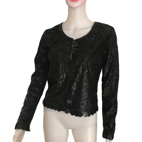 Vintage 1960s Black Sequined Jacket With Paillettes