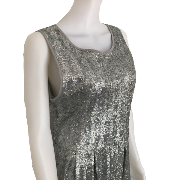 Vintage 1990s Silver Sequined Skater Style Dress