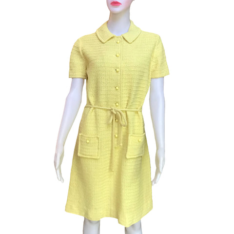 Vintage 1960s Yellow Dalton Knit Dress