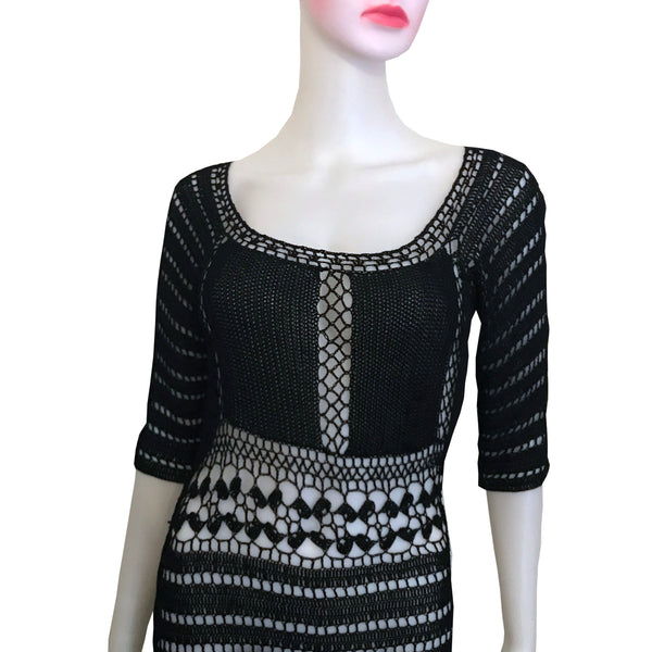 Vintage 1970s Sexy Black Crochet Sweater Dress