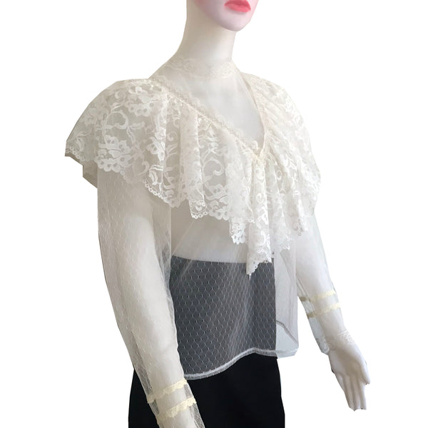 Vintage 1970s Sheer Lace Long-Sleeve Blouse