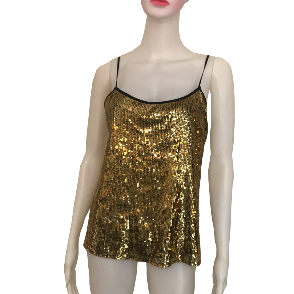 Vintage 1970s Gold Sequined Disco Blouse