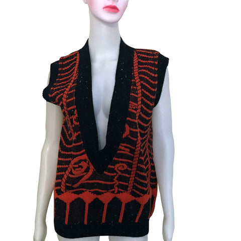 Vintage 1980s Orange Deep V-Neck Sweater Vest