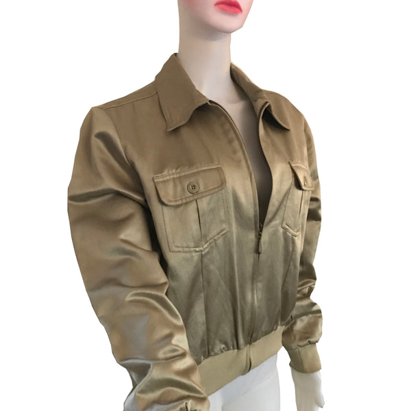 Vintage 1980s Bill Blass Gold Zipper Jacket