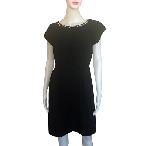 Vintage 1950s Embellished Black Crepe Wiggle Dress