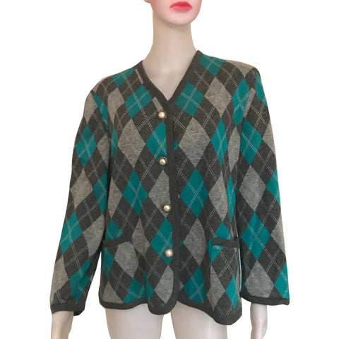 Vintage 1960s Argyle Sweater With Antique Buttons