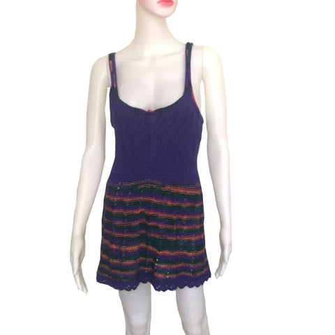 Vintage 1960s Striped Crochet Sweater Mini Dress