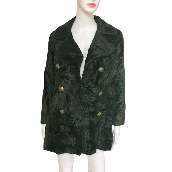Vintage 1960s Dark Green Crushed Velvet Pea Coat