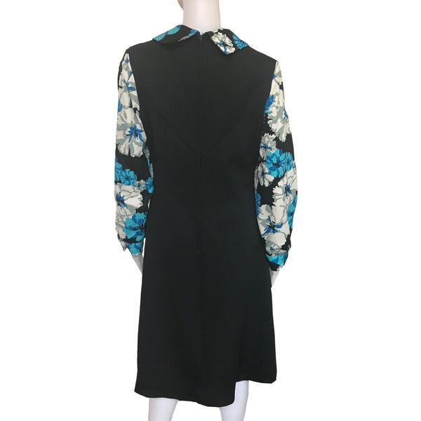 Vintage 1960s Mod Floral Print Neck Tie Day Dress