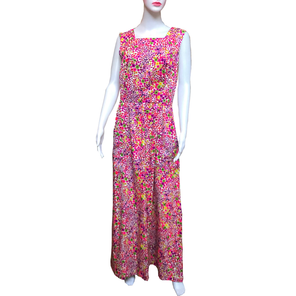 Vintage 1960s Floral Cotton Maxi Dress