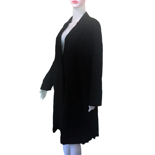 Vintage 1960s Black Pleated Spring Coat