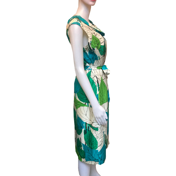 Vintage 1960s Silk Leaf Print Sleeveless Dress