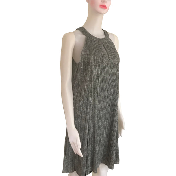 Vintage 1990s Metallic Silver Trapeze Dress