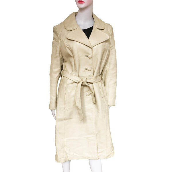 Vintage 1970s Taupe Colored Leather Trench Coat
