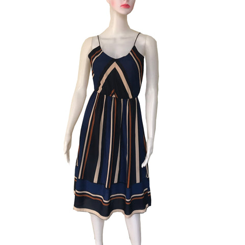 Vintage 1970s Striped Sleeveless Dress
