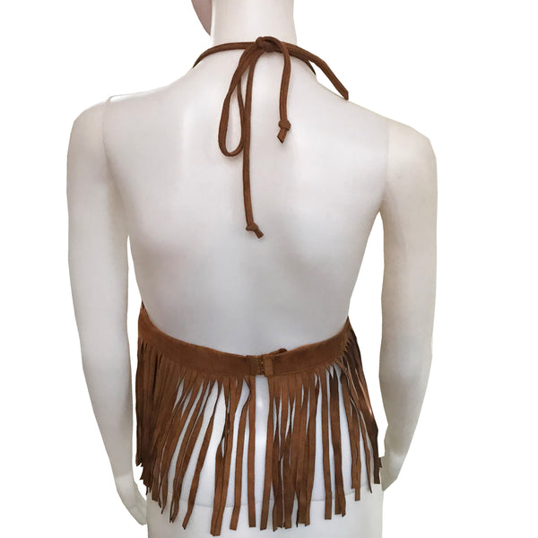 Vintage 1970s Embroidered Fringe Halter Top