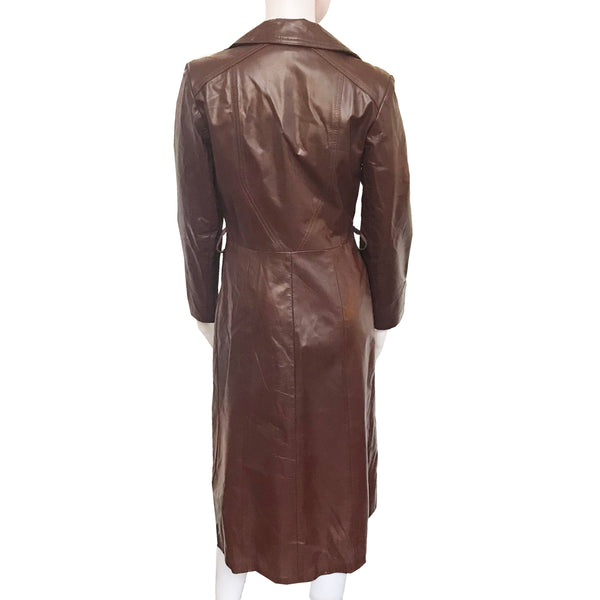 Vintage 1970s Cognac Leather Trench Coat
