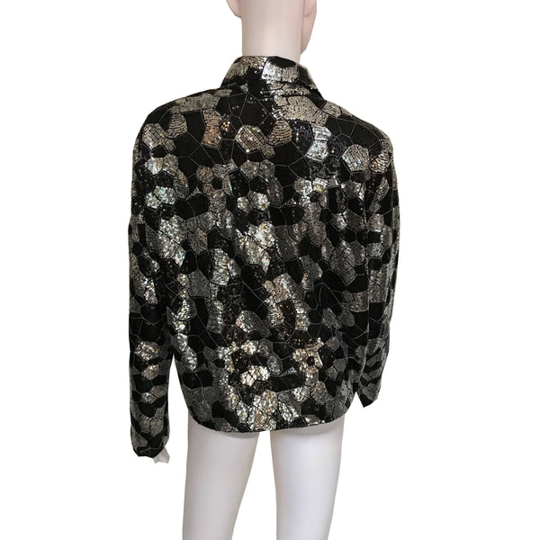 Vintage 1970s Sequined Disco Tie-Front Blouse