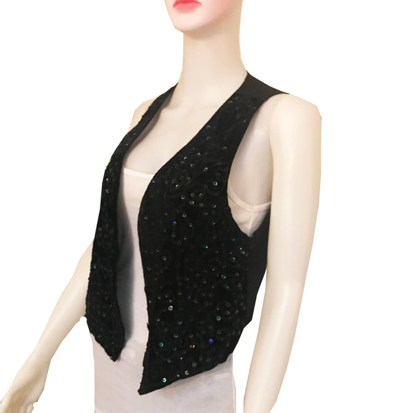 Vintage 1970s Black Velvet Sequined Vest