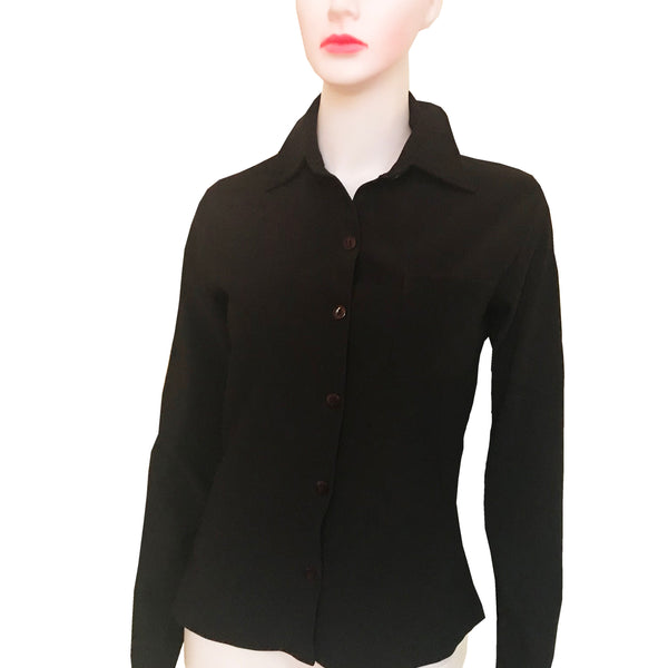 Vintage 1970s Black Button Down Blouse