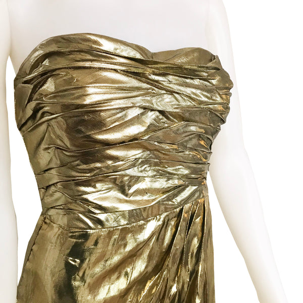 Vintage 1980s Jackie Bernard Gold Lame Dress