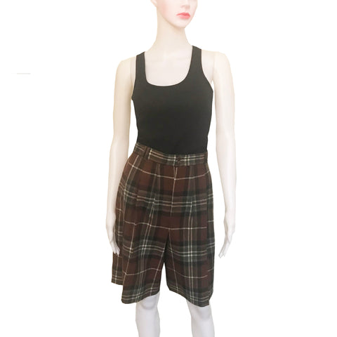 Vintage 1980s J. London Plaid Wool Bermuda Shorts