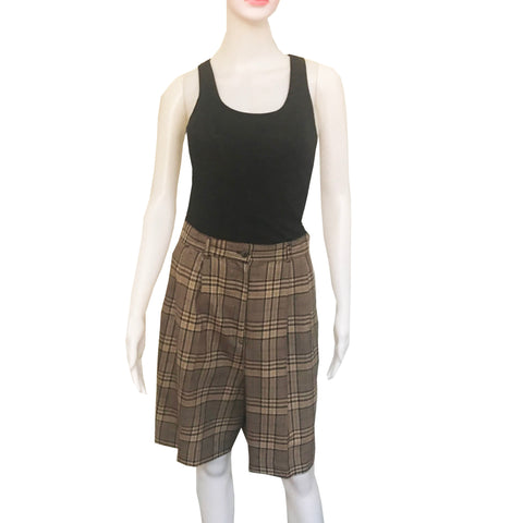 Vintage 1980s Plaid Pleated Wool Bermuda Shorts