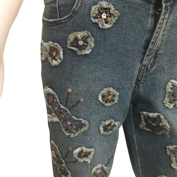 Vintage 1990s Stone-Washed Butterfly Patch Flare Jeans