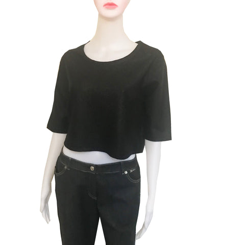 Vintage 1990s Black Leather Look Crop Top