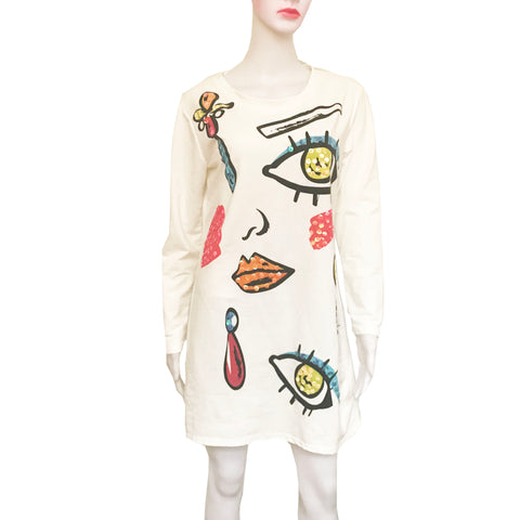 Vintage 1990s White Dress With Graphic Face Print