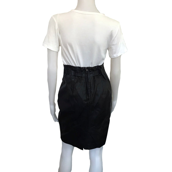 Vintage 1990s Black Pleather Paper Bag Waist Skirt