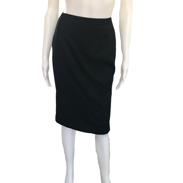 Vintage 1990s Gianni Versace Couture Black Pencil Skirt
