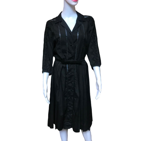 Vintage 1950s Carlye Black Eyelet Dress