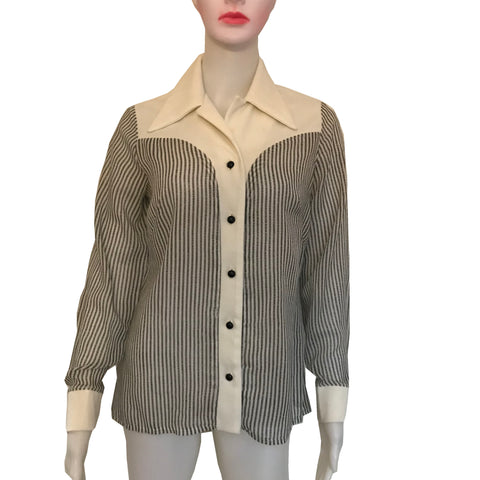 Vintage 1970s Melwine of Miami Striped Blouse