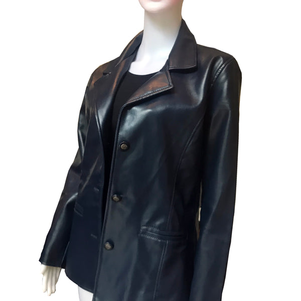 A/E Luxury Collection Navy Blue Faux Leather Jacket