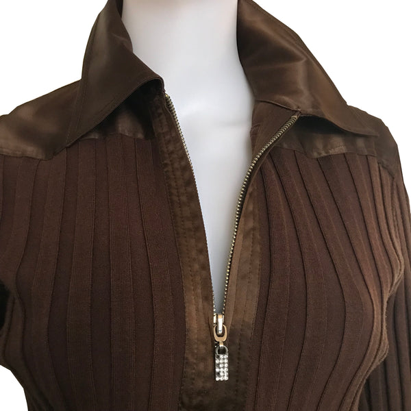 Vintage 1980s Caché Brown Silk Full Zip Sweater
