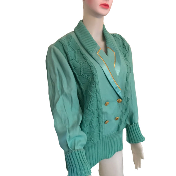 Vintage 1980s Caché Turquoise Crested Sweater