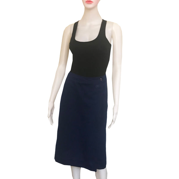 Vintage 1970s Givenchy Sport Navy Blue Wrap Skirt